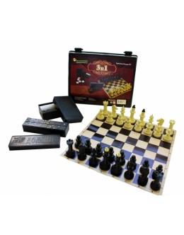Игра 3 в 1 шашки, домино, шахматы