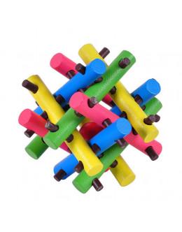 Деревянная головоломка гнездо цветное