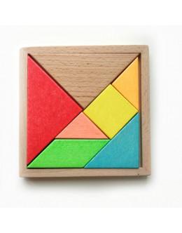 Деревянная головоломка Танграм цветной