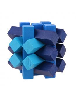 Деревянная головоломка Blue oblique 15 locks