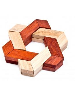 Деревянная головоломка Two-color triangle gossip