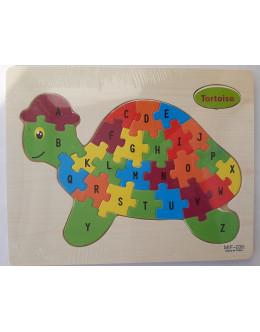 Пазл 9 wooden 26 letters-tortoise